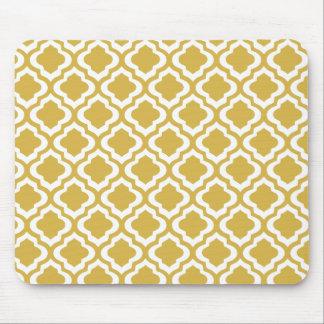 Elegant Gold Mustard Moroccan Quatrefoil Clover Mouse Pad
