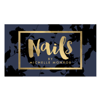 Elegant Gold Nails Text on Midnight Blue Floral Business Card