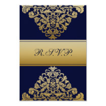 "elegant gold ""navy b wedding RSVP Standard 3.5 x 5 Card"