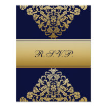 "elegant gold ""navy blue"" wedding RSVP Card"