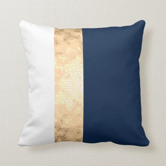 Elegant Gold Navy Blue White Stripes Throw Pillow Zazzle Com