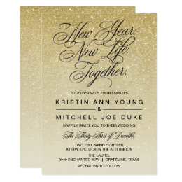 Delicieux Elegant Gold New Years Eve Wedding Invitation ...