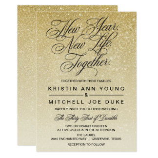 Elegant Gold New Years Eve Wedding Invitation