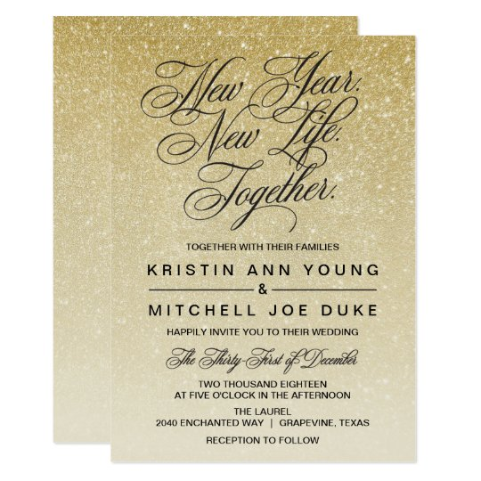 elegant gold new years eve wedding invitation zazzle com