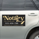 """Elegant Gold Notary Loan Agent Car Magnet<br><div class=""""desc"""">Elegant,  trendy business car magnet for notary loan signing agent featuring  faux foil gold handwritten calligraphy script ''notary'' on a black background. Personalize with your details.</div>"""