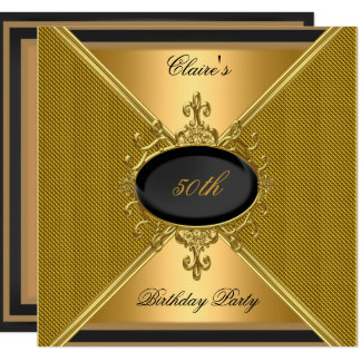 Elegant Gold On Gold Black 50th Birthday Party Card