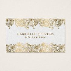 Elegant Gold On White Paisley Wedding Planner Business Card at Zazzle