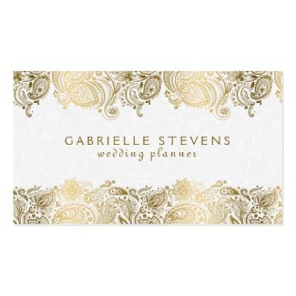 Elegant Gold On White Paisley Wedding Planner Double-Sided Standard Business Cards (Pack Of 100)