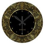 Elegant Gold Ornante Lace Circle Frame Large Clock