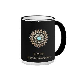Elegant Gold Ornate Logo Black Ringer Coffee Mug