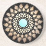 "Elegant Gold Ornate Lotus Mandala Drink Coaster<br><div class=""desc"">This classy lotus flower illustration has a beautiful fusion of retro,  modern and new age. Mandala inspired faux gold leaf rosette medallion with turquoise center.</div>"
