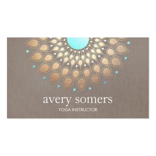 Elegant Gold Ornate Lotus Mandala Taupe Linen Look Business Cards