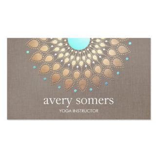 Elegant Gold Ornate Lotus Mandala Taupe Linen Look Business Card