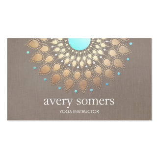 Elegant Gold Ornate Lotus Mandala Taupe Linen Look Double-Sided Standard Business Cards (Pack Of 100)