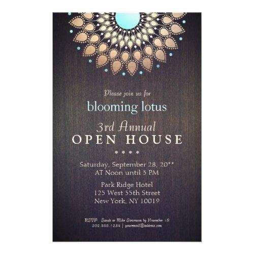 Elegant Gold Ornate Lotus Mandala Wood Event Flyer