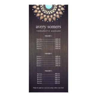 Elegant Gold Ornate Lotus Mandala Wood Price List Rack Cards