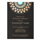 Elegant Gold Ornate Motif Black Linen Look Formal Card