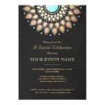 Elegant Gold Ornate Motif Black Linen Look Formal Personalized Invitations