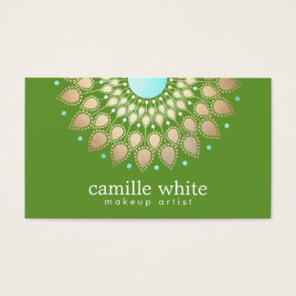 Elegant Gold Ornate Motif Green Business Card