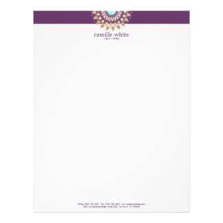 Elegant Gold Ornate Motif Purple Letterhead