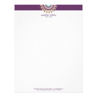 Elegant Gold Ornate Motif Purple Letterhead