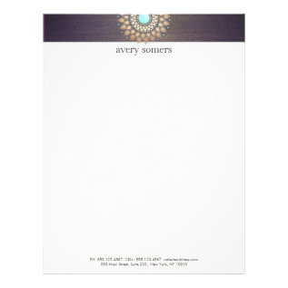 Elegant Gold Ornate Motif Purple Letterhead at Zazzle