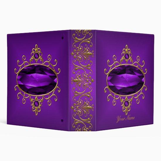 Elegant Gold Ornate Purple Jewel Binder