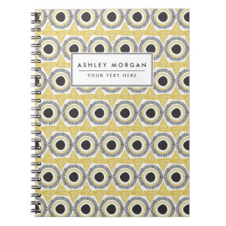 Elegant Gold Ornate Triangle & Circle Pattern Spiral Notebooks