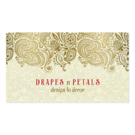 Red and Brown Background with Gold Vintage Floral Design Business Cards