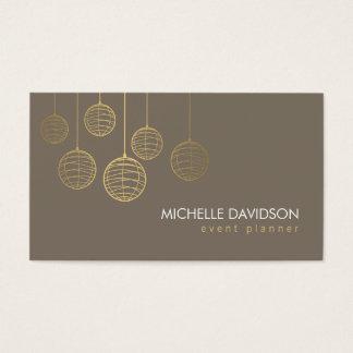 Elegant Gold Paper Lanterns II for Event Planner Business Card