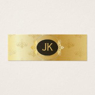 Elegant Gold Pattern Black Accent Mini Business Card