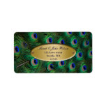 elegant gold peacock address label