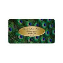 elegant gold peacock address label