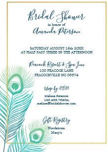 elegant gold peacock bridal shower invitations