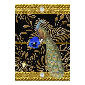 "Elegant Gold  Peacock Invitation 5"" X 7"" Invitation Card"