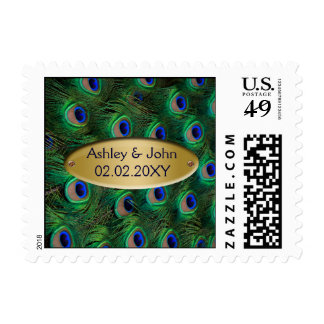 elegant gold peacock stamp