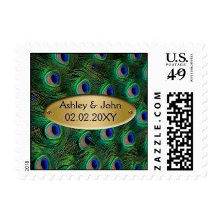 elegant gold peacock postage