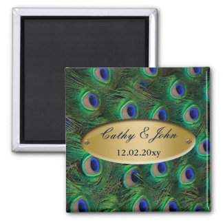 elegant gold peacock save the date 2 inch square magnet