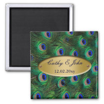 elegant gold peacock save the date magnet