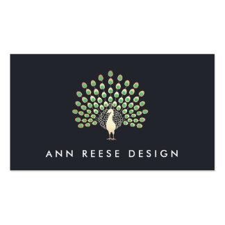 Elegant Gold Peacock Stylish Designer Navy Business Card