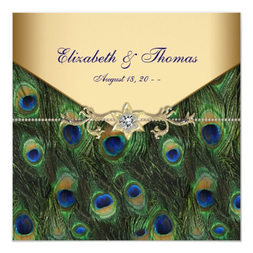 Elegant Gold Peacock Wedding Card