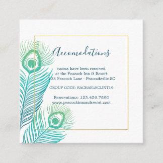 Elegant Gold Peacock Wedding Hotel Accomodations Enclosure Card