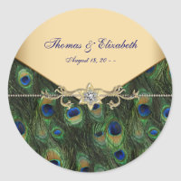 Elegant Gold Peacock Wedding Invitations Classic Round Sticker