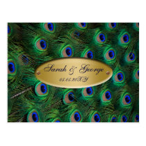 elegant gold peacock wedding RSVP Postcard