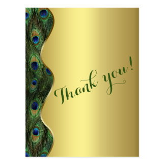 Elegant Gold Peacock Wedding Thank You Postcard
