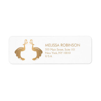 Elegant Gold Peacocks Logo Custom Address Label