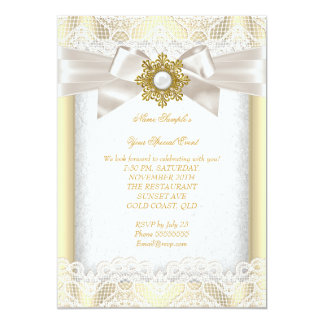 Elegant Gold Pearl Jewel Cream Lace Party Card