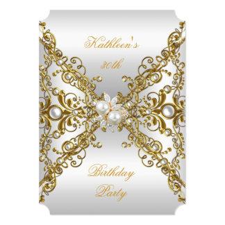 Elegant Gold Pearl Jewel Silver Birthday Party Card
