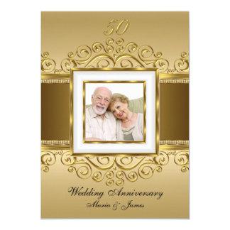 Elegant Gold & Pearl Swirl Photo 50 Anniversary Card