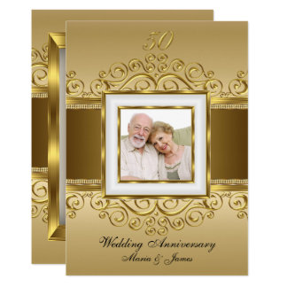 Elegant Gold & Pearl Swirl Photo 50 Anniversary Invitation